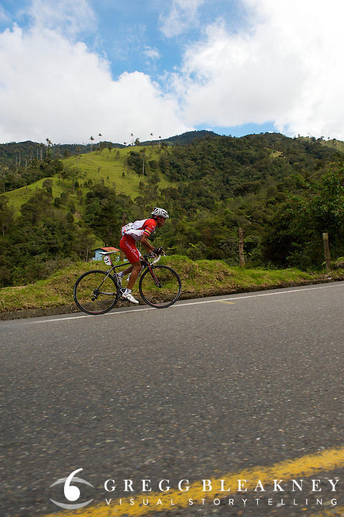 Fabio Duarte charging up the final miles of stage 3's beyond category climb, Alto de La Linea. Duarte won the stage and the race leader's jersey - Ibague - Colombia