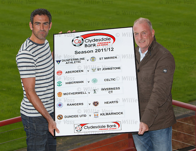 Paul Gallacher and Gerry McCabe of Dunfermline wth the opening weekend's SPL fixtures