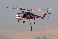 Sikorsky CH-54A Tarhe, originally built for the Army as Serial 64-063 and now operated as N795HT by Helicopter Transport Services, operates out of Meadowlark Field in Livermore, California, in response to the 2020 SCU Lightning Complex fires.