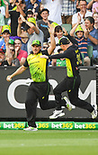 10th February 2018, Melbourne Cricket Ground, Melbourne, Australia; International Twenty20 Cricket, Australia versus England; Aaron Finch of Australia celebrates the opening wicket of the game