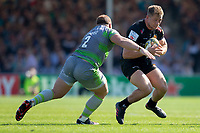 Exeter Chiefs' Sam Hill is tackled by Newcastle Falcons' Kyle Cooper<br /> <br /> Photographer Bob Bradford/CameraSport<br /> <br /> Aviva Premiership Play-Off Semi Final - Exeter Chiefs v Newcastle Falcons - Saturday 19th May 2018 - Sandy Park - Exeter<br /> <br /> World Copyright &copy; 2018 CameraSport. All rights reserved. 43 Linden Ave. Countesthorpe. Leicester. England. LE8 5PG - Tel: +44 (0) 116 277 4147 - admin@camerasport.com - www.camerasport.com