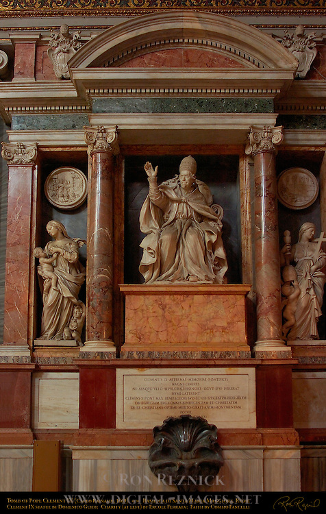 Tomb of Pope Clement IX Carlo Rainaldi 1669 Statue Clement IX Domenico Guidi Allegories Charity Ercole Ferrata Faith Cosimo Fancelli