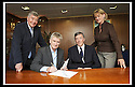 23/06/2008   Copyright Pic: James Stewart.File Name : 02_stadium_signing.SANDY ALEXANDER, SOUTH STAND DEVELOPMENT COMPANY, SIGNS THE AGREEMENT WHICH WILL SEE THE COMMENCEMENT OF THE BUILDING OF THE NEW SOUTH STAND AT THE FALKIRK COMMUNITY STADIUM..... LEFT TO RIGHT : CAMPBELL CHRISTIE, CHAIRMAN FALKIRK FC, SANDY ALEXANDER, SOUTH STAND DEVELOPMENT COMPANY, MERVYN JONES, CHAIRMAN FALKIRK COMMUNITY STADIUM LTD AND LINDA GOW. LEADER OF FALKIRK COUNCIL.James Stewart Photo Agency 19 Carronlea Drive, Falkirk. FK2 8DN      Vat Reg No. 607 6932 25.Studio      : +44 (0)1324 611191 .Mobile      : +44 (0)7721 416997.E-mail  :  jim@jspa.co.uk.If you require further information then contact Jim Stewart on any of the numbers above........