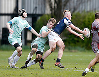 Action photo during the 2016 Pcubed Rugby League Varsity game between Oxford University and Cambridge University at the HAC ground, London, on Fri March 4, 2016