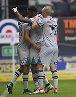Omar Bogle of Grimsby Town celebrates scoring his second goal during the Sky Bet League 2 match between Luton Town and Grimsby Town at Kenilworth Road, Luton, England on 10 September 2016. Photo by Harry Hubbard / PRiME Media Images.