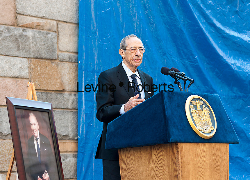 "Former NYS Gov. Mario Cuomo speaks at the ceremony renaming the Brooklyn Battery Tunnel in New York into the Hugh L. Carey Tunnel on Monday, October 22, 2012 after the late NYS Governor Carey who served from 1975 to 1982. Carey was responsible for seeing New York City out its fiscal crisis in the 70's as well as starting the iconic ""I (heart) New York"" promotional program. Carey died in 2011 at the age of 92. (© Richard B. Levine)"