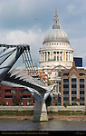 St. Paul's Cathedral and Millenium Bridge, Ludgate Hill, London, England, UK