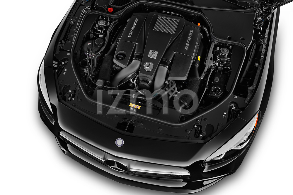 Car stock 2017 Mercedes Benz SL AMG 63 2 Door Convertible engine high angle detail view