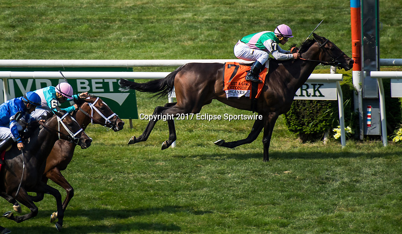 ELMONT, NY - JUNE 10: Antonoe #7, ridden by Javier Castellano, wins the Longines Just a Game Stakes on Belmont Stakes Day at Belmont Park on June 10, 2017 in Elmont, New York (Photo by Dan Heary/Eclipse Sportswire/Getty Images)