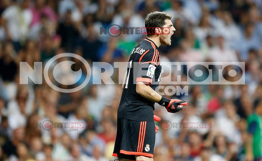 Real Madrid's Iker Casillas reacts during Super Cup match. August 29, 2012. (ALTERPHOTOS/Alvaro Hernandez). /NortePhoto.com<br /> <br /> **CREDITO*OBLIGATORIO** <br /> *No*Venta*A*Terceros*<br /> *No*Sale*So*third*<br /> *** No*Se*Permite*Hacer*Archivo**<br /> *No*Sale*So*third*