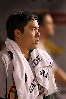 Oakland Athletics catcher Kurt Suzuki #8 during a game against the Los Angeles Angels at Angel Stadium on September 24, 2011 in Anaheim,California. Los Angeles defeated Oakland 4-2.(Larry Goren/Four Seam Images)