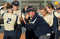 NWA Democrat-Gazette/BEN GOFF @NWABENGOFF<br /> Anthony Cantrell, Bentonville West head softball coach, huddles with the team Tuesday, April 10, 2018, during the game against Bentonville at Bentonville West's Wolverine Athletic Complex in Centerton.