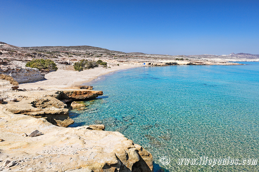 The beach of Mitakas in Milos, Greece