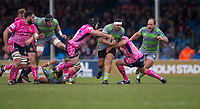 Newcastle Falcons' Joel Matavesi in action during todays match<br /> <br /> Photographer Bob Bradford/CameraSport<br /> <br /> Anglo Welsh Cup Semi Final - Exeter Chiefs v Newcastle Falcons - Sunday 11th March 2018 - Sandy Park - Exeter<br /> <br /> World Copyright &copy; 2018 CameraSport. All rights reserved. 43 Linden Ave. Countesthorpe. Leicester. England. LE8 5PG - Tel: +44 (0) 116 277 4147 - admin@camerasport.com - www.camerasport.com