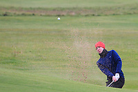 Darren Leufer (Athenry) in a bunker on the 12th fairway during Round 2 of the Ulster Boys Championship at Portrush Golf Club, Portrush, Co. Antrim on the Valley course on Wednesday 31st Oct 2018.<br /> Picture:  Thos Caffrey / www.golffile.ie<br /> <br /> All photo usage must carry mandatory copyright credit (&copy; Golffile | Thos Caffrey)