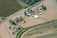 Flooding along South Platte River, near Greeley in Weld County, Colorado