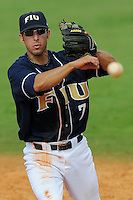 24 February 2008: Florida International second baseman Ryan Mollica (7) throws to first in the Southern California 12-7 victory over FIU at University Park Stadium in Miami, Florida.