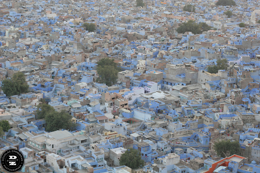 The skyline of the city of Jodhpur, India which sprawls below the fort as a mass of cubist shapes, most painted blue.  Photograph by Douglas ZImmerman..