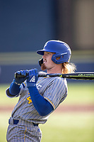 San Jose State Spartans pinch hitter Jack Colette (24) waits on deck against the Michigan Wolverines on March 27, 2019 in Game 1 of the NCAA baseball doubleheader at Ray Fisher Stadium in Ann Arbor, Michigan. Michigan defeated San Jose State 1-0. (Andrew Woolley/Four Seam Images)