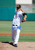 Mesa Solar Sox pitcher Jarred Cosart #24, of the Houston Astros organization, during an Arizona Fall League game against the Peoria Javelinas at HoHoKam Park on October 15, 2012 in Mesa, Arizona.  Peoria defeated Mesa 9-2.  (Mike Janes/Four Seam Images)