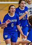 27 October 2013: Yeshiva University Maccabee Middle Hitter Elana Lesser (6), a Freshman from Baltimore, MD, smiles with her teammates prior to a game against the College of Mount Saint Vincent Dolphins at the College of Mount Saint Vincent in Riverdale, NY. The Dolphins defeated the Maccabees 3-0 in NCAA women's volleyball play. Mandatory Credit: Ed Wolfstein Photo *** RAW (NEF) Image File Available ***