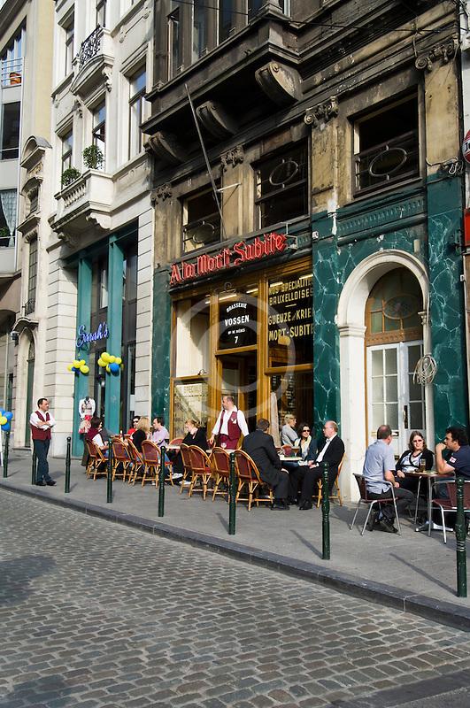Belgium, Brussels, Sidewalk Cafe, Rue Montagne aux Herbes Potagères