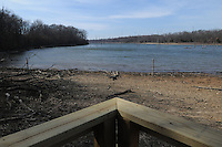 NWA Democrat-Gazette/FLIP PUTTHOFF <br /> Swepco Lake is typically low during winter, as seen on Feb. 10 2017. During rainy times the lake creeps to the edge of the original wildlife viewing pavilion. Bald eagles, herons and waterfowl are among the species seen from the pavilion.