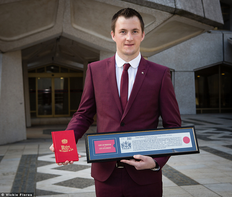"OIC - ENTSIMAGES.COM -  February 3rd, 2014. Former British soldier James Wharton receives the ""Freedom of the City of London"" award at The Guildhall in the City of London on February 3rd, 2014 in recognition of his work in the lesbian, gay, bisexual and transgender (LGBT) community to tackle homophobic bullying in secondary schools. James Wharton was one of the first openly gay soldiers in the British Army, who served with Prince Harry and considers him a personal friend, came out in 2005, two years after he began his enlistment. Photo Ents Images/Vickie Flores. OIC 0203 174 1069."