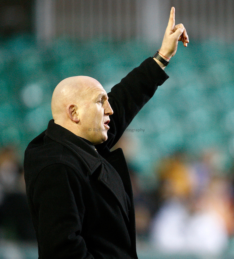 Photo: Richard Lane/Richard Lane Photography. Leicester Tigers v London Wasps. Aviva Premiership. 19/02/2011. Wasps' Head Coach, Shaun Edwards.