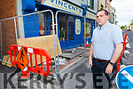 Paddy Kevane, President of the Cork/Kerry St Vincent de Paul outside the shop in Castle St, Tralee which has caused major problems with access to their shop.