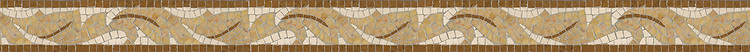 """2 3/4"""" Acanthus border, a hand-cut stone mosaic, shown in polished Dijon Gold, Crema Valencia, Ivory Cream,and Jerusalem Gold."""
