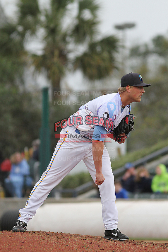 Myrtle Beach Pelicans pitcher Sam Wolff #22 on the mound during a game against the Salem Red Sox at Ticketreturn.com Field at Pelicans Ballpark on April 6, 2014 in Myrtle Beach, South Carolina. Salem defeated Myrtle Beach 3-0. (Robert Gurganus/Four Seam Images)