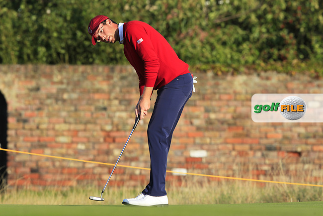 Andy Ogletree (USA) on the 18th during Day 1 Singles of the Walker Cup at Royal Liverpool Golf CLub, Hoylake, Cheshire, England. 07/09/2019.<br /> Picture: Thos Caffrey / Golffile.ie<br /> <br /> All photo usage must carry mandatory copyright credit (© Golffile | Thos Caffrey)