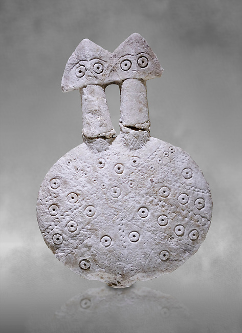 Bronze Age Anatolian two headed disk shaped alabaster Goddess figurine - 19th to 17th century BC - Kültepe Kanesh - Museum of Anatolian Civilisations, Ankara, Turkey.