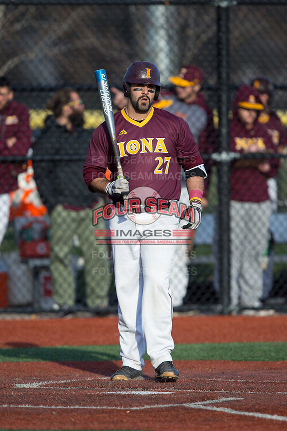 Lou Matarazzo (27) of the Iona Gaels at bat against the Rutgers Scarlet Knights at City Park on March 8, 2017 in New Rochelle, New York.  The Scarlet Knights defeated the Gaels 12-3.  (Brian Westerholt/Four Seam Images)