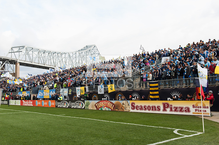 Philadelphia Union fans at the river end. Sporting Kansas City defeated the Philadelphia Union 3-1 during a Major League Soccer (MLS) match at PPL Park in Chester, PA, on March 2, 2013.