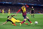 UEFA Champions League 2013/2014.<br /> Quarter-finals 1st leg.<br /> FC Barcelona vs Club Atletico de Madrid: 1-1.<br /> Arda Turan vs Jordi Alba.