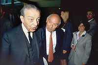 - the banker Enrico Cuccia of Mediobanca with house-builder industrialist Salvatore Ligresti (June 1991)<br />