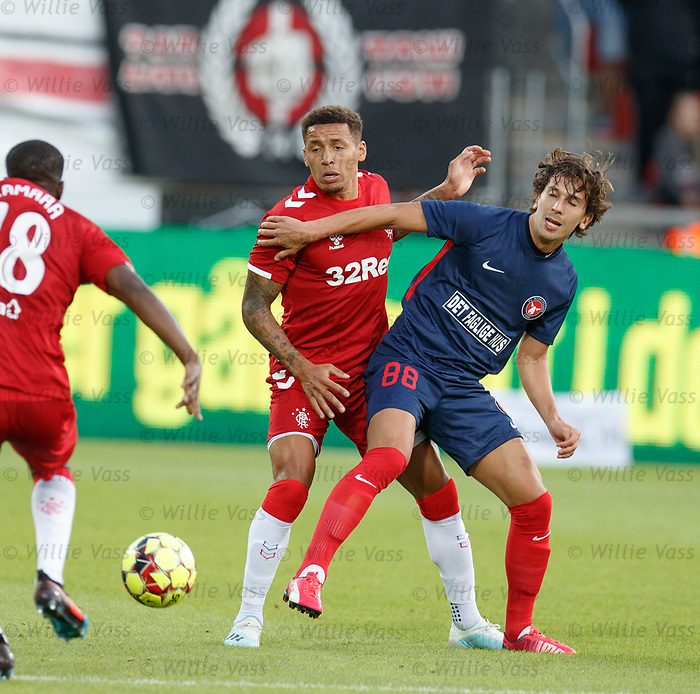 08.08.2019 FC Midtjylland v Rangers: James Tavernier and Gustav Wikheim