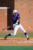 Brady Williamson (3) of the High Point Panthers at bat against the UNCG Spartans at Willard Stadium on February 14, 2015 in High Point, North Carolina.  The Panthers defeated the Spartans 12-2.  (Brian Westerholt/Four Seam Images)