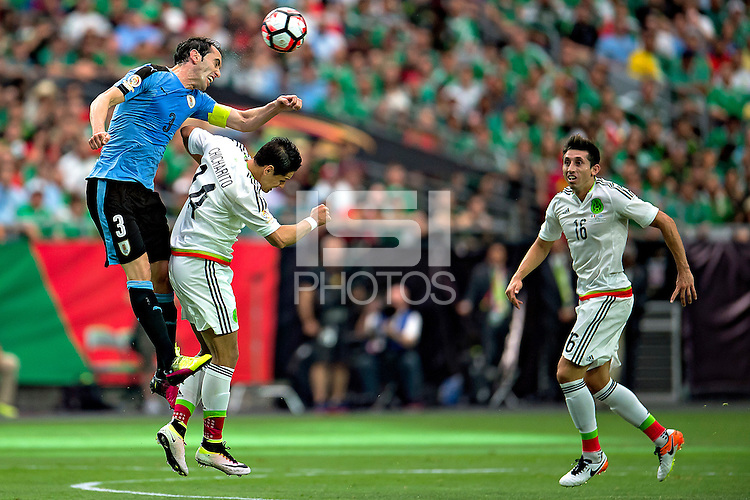 Action photo during the match Mexico vs Uruguay at University of Phoenix Stadium Copa America Centenario 2016. ---Foto  de accion durante el partido Mexico vs Uruguay, En el Estadio de la Universidad de Phoenix, Partido Correspondiante al Grupo - C -  de la Copa America Centenario USA 2016, en la foto: (I)-(D)  Diego Godin, Javier Hernandez, Hector Herrera<br /> --- 05/06/2016/MEXSPORT/ Osvaldo Aguilar.