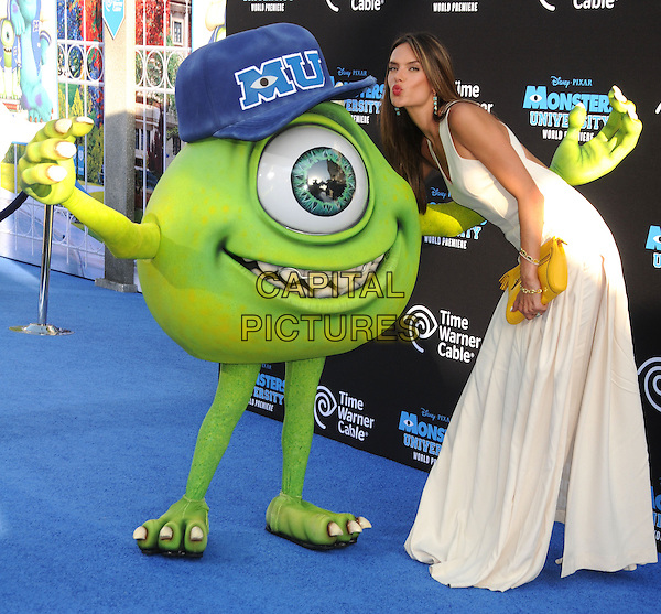 Alessandra Ambrosio  <br /> &quot;Monsters University&quot; Los Angeles Premiere held at the El Capitan Theatre, Hollywood, California, USA.<br /> June 17th, 2013<br /> full length dress yellow clutch bag white bending leaning puckering kiss kissing <br /> CAP/ADM/BP<br /> &copy;Byron Purvis/AdMedia/Capital Pictures
