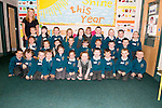 Holy Family National School junior infants first day at school pictured with their teacher Mary McMahon.