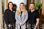 President of the Irish Hairdressing Council, Sean Taffee with Aoife O'Reilly (Kerry Skill Net) and Niamh O'Halloran (Kerry ETB Training Centre) at the Hairdressers forum in the Ballygarry House Hotel on Monday morning