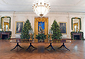 "The 2017 White House Christmas decorations, with the theme ""Time-Honored Traditions,"" which were personally selected by first lady Melania Trump, are previewed for the press in Washington, DC on Monday, November 27, 2017.  Wide view of the East Room Christmas decorations showing the White House crèche that was donated in 1967 by Mrs. Charles W. Engelhard.<br /> Credit: Ron Sachs / CNP"