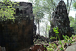 Angkorian temple Prasat Thom at Koh Ker (early 10th century).<br /> The Prang or temple tower is the highest ever constructed by the Khmer, rising 36 meters above the forest floor, when consecrated in 921 a 4 metre tall linga was enshrined at its summit. <br /> Koh Ker temple complex is a remote archaeological site in the jungle of Preah Vihear province in northern Cambodia. Inscriptions found at the site say the name of the ancient town was Chok Gargyar. Briefly in the reign of Jayavarman IV and Harshavarman II (928&ndash;944 AD) it was the capital of the Khmer Empire.Koh Ker was also known as Lingapura (City of Lingams), all of the monuments here are dedicated to Hindu deities, mainly Shiva.