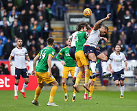 Bolton Wanderers' Josh Magennis competing with Preston North End's Ben Pearson  <br /> <br /> Photographer Andrew Kearns/CameraSport<br /> <br /> The EFL Sky Bet Championship - Bolton Wanderers v Preston North End - Saturday 9th February 2019 - University of Bolton Stadium - Bolton<br /> <br /> World Copyright © 2019 CameraSport. All rights reserved. 43 Linden Ave. Countesthorpe. Leicester. England. LE8 5PG - Tel: +44 (0) 116 277 4147 - admin@camerasport.com - www.camerasport.com