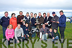 John O'Keeffe Lixnaw winner of the White Sands Cup and been presented it by DJ Histon of the Sporting Press at Ballyheigue on Sunday in the Ballyheigue Coursing. Front l-r: Mary and Thomas O'Keeffe, Michael Reidy, Sean, Conor and Juliann O'Keeffe. Back l-r: Con O'Keeffe, Liz O'Keeffe, Michael A Reidy,John Kelliher, Michael O'Keeffe, John O'Keeffe, DJ Histon, Tina O'Keeffe, Jimmy Browne, Willie O'Leary and Paddy McElligott. ........ ..............................   Copyright Kerry's Eye 2008
