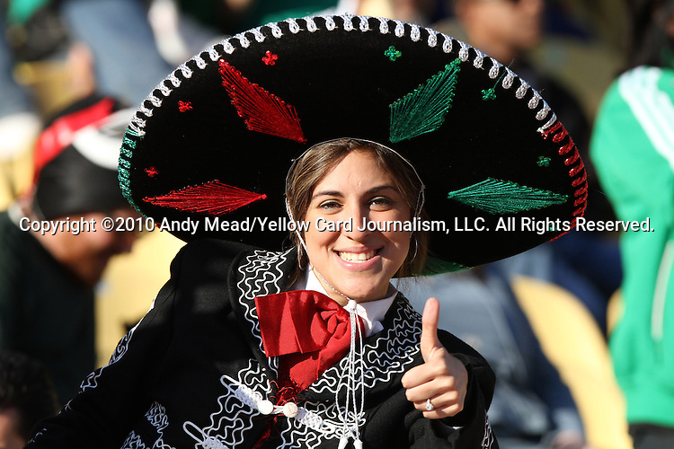 22 JUN 2010:  Female Mexico fan in the stands.  The Mexico National Team went dow to the Uruguay National Team 0-1 in the first half at Royal Bafokeng Stadium in Rustenburg, South Africa in a 2010 FIFA World Cup Group A match.