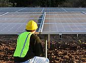 Stock photo of solar panel engineer